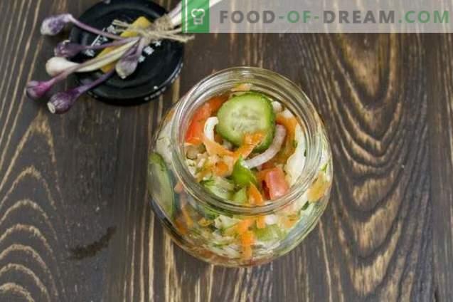 Salată de varză pentru iarnă cu castraveți și roșii