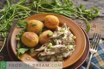 Rinichi de porc din smântână cu ceapă și cartofi
