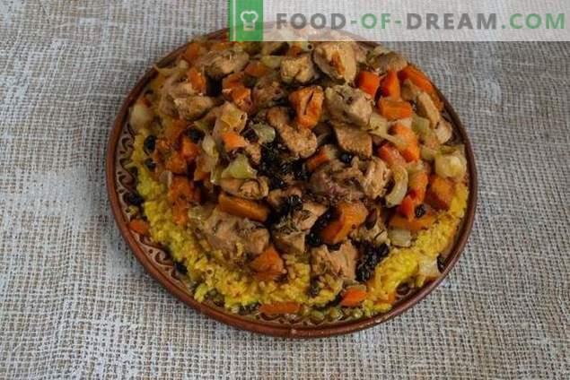 Pilaf desmenuzable con calabaza y carne al estilo azerbaiyano