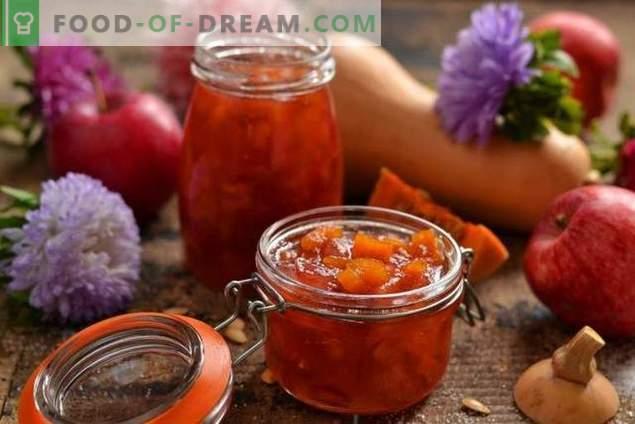 Apple-jam met pompoen - de zoete smaak van de herfst