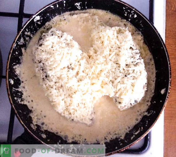 Piept de pui într-un sos de brânză cremoasă cu legume - rețetă cu fotografii