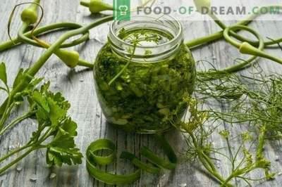 Grădinile de recoltare pentru iarnă: condimente pentru salate și supe de usturoi, ...