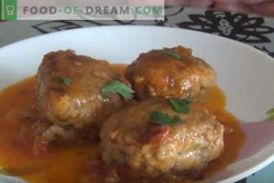 Cum să gătești chiftele cu sos în tigaie, în sos de smântână, fără orez, cu pui
