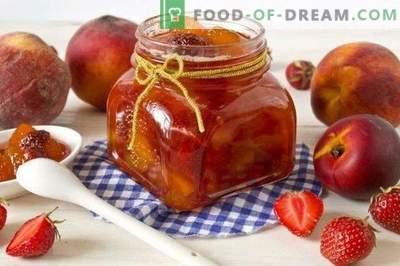 Gem de fructe de fructe de pește din piersici, căpșuni și nectarine