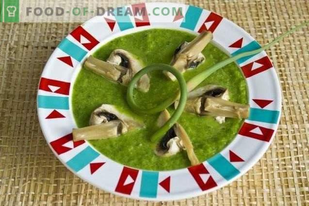 Supa de puf de spanac, săgeți de usturoi și ciuperci