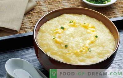 Comment faire cuire une délicieuse bouillie de maïs avec du lait? Les meilleures recettes et secrets de la cuisson de la bouillie de maïs au lait de céréales ou de farine