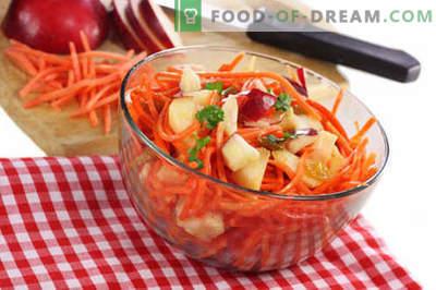 Salata de morcovi și măr - cele mai bune rețete. Cum să gustați în mod corespunzător și să pregătiți o salată de morcovi și mere.