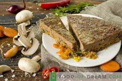 Beef liver pate with mushrooms and vegetables in the oven