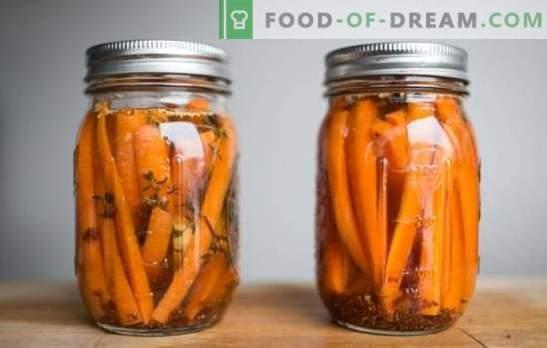 Salate și mâncăruri laterale de morcovi prăjiți cu usturoi. Snack, pentru masă și pentru morcovii morcovi prăjiți cu usturoi