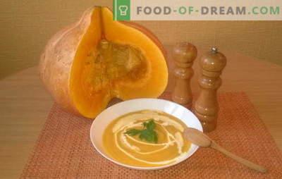 Rețete pentru gătit supă de dovleac cu cremă. Alegeți supa de dovleac cremoasă preferată: pui, picant, dietetic
