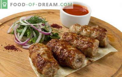 Lyula-kebab kodus on erinev! Kuidas süüa kebabi kodus: retseptid raskest lihtsast