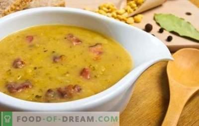Supa de mazăre cu cârnați: o versiune bugetară a unui curs primordial. Rețete supă de mazăre cu cârnați: fierte și afumate