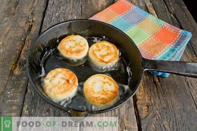 Pasteles de queso en un señuelo con albaricoques secos y chocolate