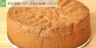 Biscuit pe chefir în cuptor pentru prăjitură, cu cacao, miere, mere, gem
