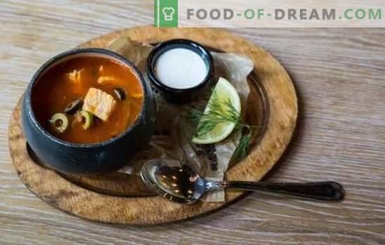 Solyanka de pește este un spotlet luminos! Rețete aromatice, solyanka hrănitoare cu conserve, ciuperci, varză, orz de perle, castraveți