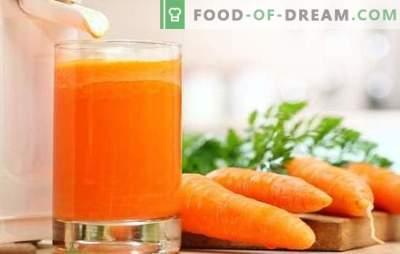 Wortelsap thuis: vaste vitamines! Recepten van natuurlijk wortelsap en cocktails met zijn deelname