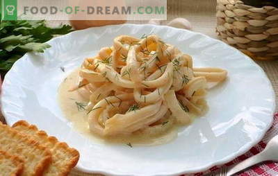 Squids în smântână este un fel de mâncare suculentă. Rețete de rețetă în sos de smântână cu legume, brânză, ciuperci, usturoi, roșii