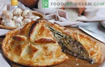 Kurnik cu orez este un tort tradițional consistent. Cele mai bune retete pentru pui, orez, ciuperci, brânză