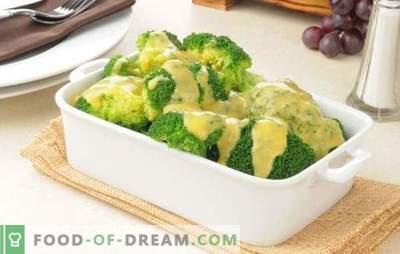 Broccoli într-un sos cremos cu nucșoară, brânză, ciuperci. Rețete pentru broccoli fierte și coapte în sos de smântână