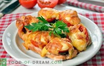 Chifle de pui în cuptor - unic delicioase! Prepararea găinilor în cuptor cu ciuperci, legume, brânză