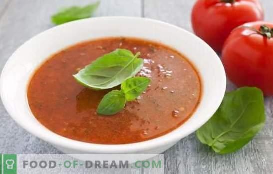 Supă de tomate - un fel de mâncare sănătoasă pentru veri fierbinți și ierni reci. Cele mai bune opțiuni pentru supa de piure de roșii calde și reci