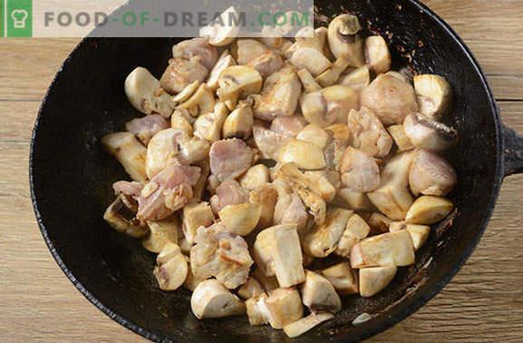 Roșii cu carne de porc și ciuperci într-o cratiță - un om va spune da! O simplă fotografie rețetă pas cu pas pentru gătit prăjită într-o cratiță