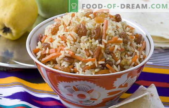 Pilaf mai târziu - nu vom face mai rău decât uzbecul! Diverse rețete pentru pilaf slabă: cu ciuperci, stafide, năut, hrișcă, carne de soia