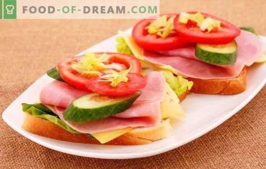 Võileivad vorsti, juustu ja tomatitega - elementaarne ja elegantne! Valik maitsvaid võileibu koos vorsti, juustu ja tomatitega