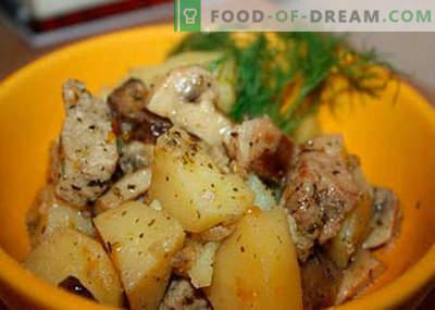 Компир со месо и печурки - најдобри рецепти. Како правилно и вкусно готви компири со месо и печурки.