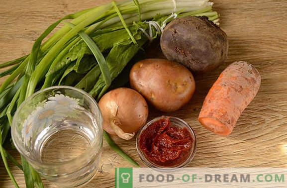 Borsch verde cu pastă de roșii și sfecla: o rețetă autorului pas cu pas cu fotografii. Cum să gătești supa delicioasă de sorrel și sfecla cu pastă de tomate - împărtăși secretele