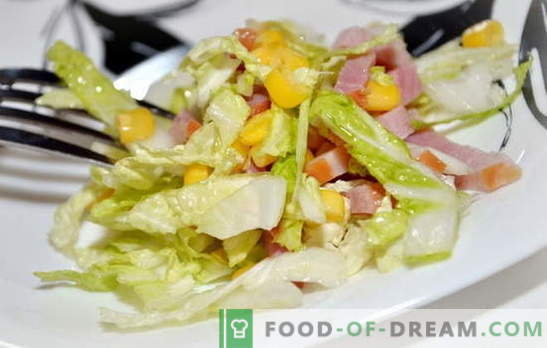 Salata cu varza din Peking si sunca este o gustare usoara. Rețete pentru salate cu varză chineză și șuncă: simple și stratificate