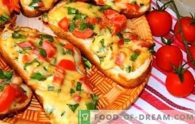 Kuumad võileivad sulatatud juustuga - peaaegu pizza! Erinevate kuumade võileibade retseptid sulatatud juustuga, vorstiga, muna