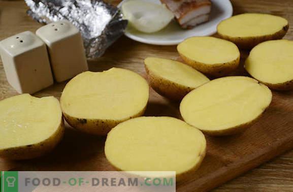 Kartul peekoniga ahjus fooliumis - lapsepõlvest! Detailne fotoretsept kartuli küpsetamiseks fooliumis küpsetatud peekoniga