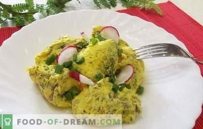 Omeletul într-un ambalaj: rețete pentru o masă dietetică neobișnuită. Gatit omlet fiert într-un pachet de carne, fructe de padure, legume, verde
