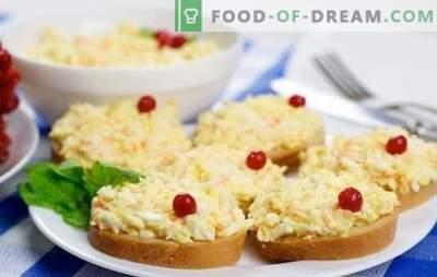 Cel mai popular aperitiv este ouăle cu brânză și usturoi. Rețete pentru o varietate de feluri de mâncare de ouă și brânză