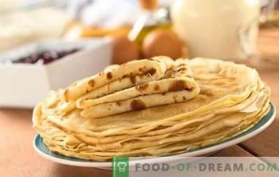 Reteta de pancake este rapidă și gustoasă - cea mai bună coacere în grabă. O selecție de cele mai bune rețete pentru clătite rapid și gustoase în lapte, apă, kefir