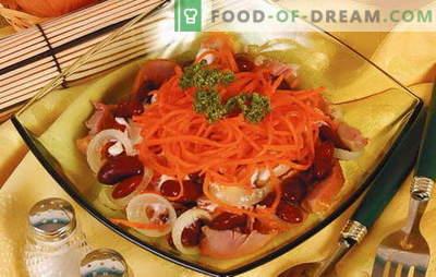 Salată de fasole bogată și sănătoasă cu morcovi, carne, ciuperci și brânză. Cele mai bune retete pentru salata de fasole cu morcovi: zilnic, festive