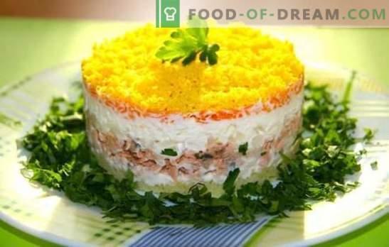 Salata mimoasă cu pește conservat este deja un clasic! Cum sa faci salata Mimosa cu conserve de peste