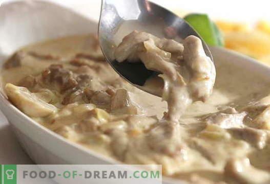 Ciuperci cu smântână - cele mai bune rețete. Cum să gătești în mod corect și gustos ciupercile cu smântână.