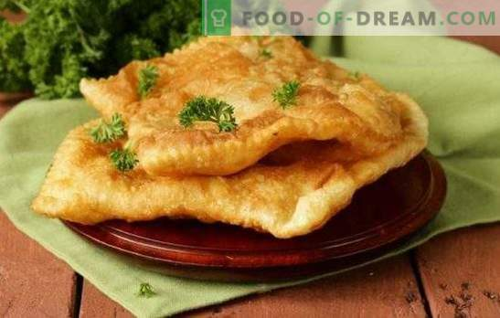 Chebureks puf - produse de patiserie crocante. Chebureks din produse de patiserie cu carne, ciuperci, brânză, șuncă sau brânză