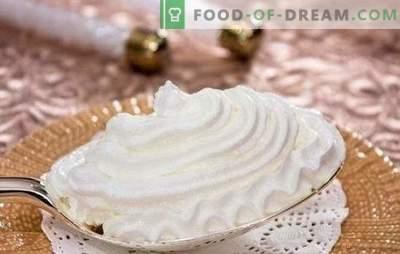 Rețete pas cu pas pentru cremă blândă și aerisită de proteine. Crema de crema cremoasă de gătit ca desert sau pentru coacere (pas cu pas)