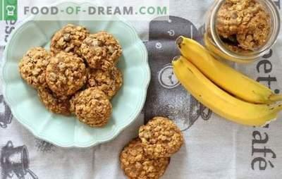 Cookie-uri de ovaz cu banane: un desert parfumat si sanatos pentru micul dejun. Opțiuni de gătit pentru cookie-urile de ovaz cu banane, fructe uscate, brânză de vaci, nuci și ciocolată