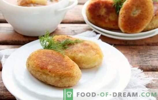Zicy juicy în tigaie: cu carne, ciuperci, ou, umplutură de brânză. Secretele de gătit carne și cartofi zraz într-o tigaie