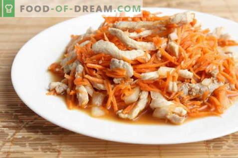 Salată coreeană cu pui - cele mai bune rețete. Cum să gustați în mod corespunzător și să pregătiți o salată cu pui și morcov coreean.