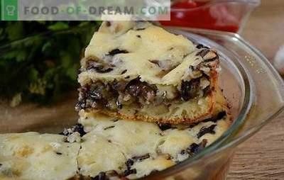 Placă jellied cu ciuperci pe kefir - superba gustări de produse de patiserie timp de o oră! Rețetă foto pas-cu-pas de plăcintă aromată cu ciuperci