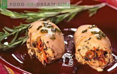File de pui umplute - elegant și gustos! Fileu de pui plin cu brânză, șuncă, prune