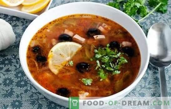 Solyanka clasic cu cârnați - aceasta este supa! Retete pentru otet de sare clasic picant, bogat, aromatic, cu cârnați