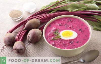 Supă de sfeclă - un prim luminos curs cu un gust bogat! Retete dovedite tradiționale și de autor pentru sfeclă caldă și rece