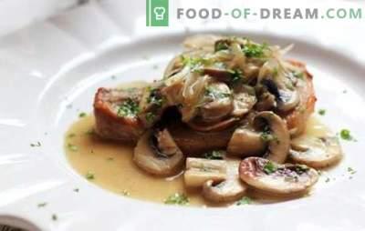 Prăjitură de porc cu ciuperci - glorie de carne, aromă neagră! Cele mai bune retete pentru cotlete delicioase de porc cu ciuperci