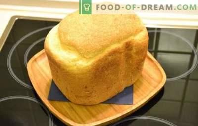 Pâine albă într-un producător de paine - clasic și cu diverse aditivi. Pâine albă cu stafide, miere, morcovi, rețete de usturoi - mașină